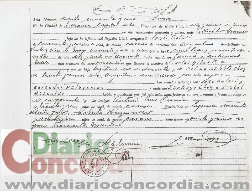 Autores de Concordia - CARLOS ALBERTO SOLARI - PARTIDA DE NACIMIENTO